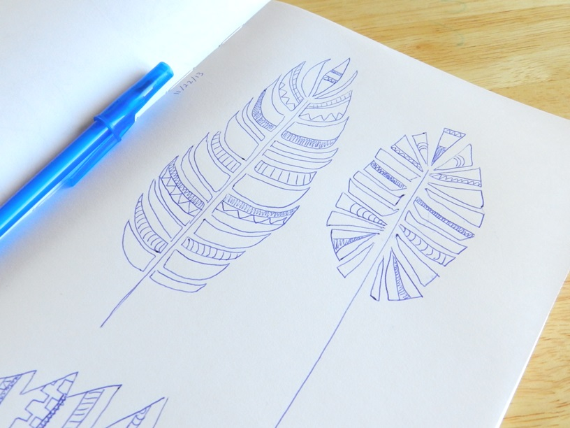 tribal feathers ink design: Grow Creative