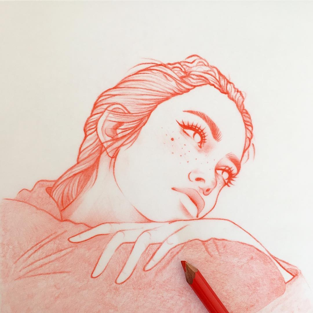 12-Drawing-and-Dreaming-Rik-Lee-Blue-Red-and-Black-Line-Portrait-Sketches-www-designstack-co