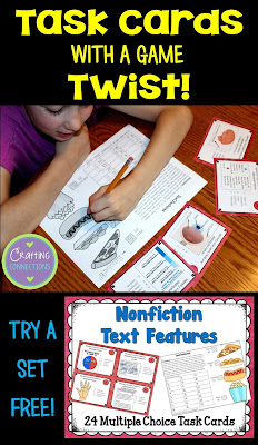 Nonfiction Text Feature Task Cards... for FREE! Plus, these unique task cards feature a game twist!