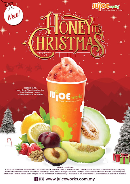 juice works, honey its cristmas, smoothie ice, jus buah sedap, smoothie ais lazat