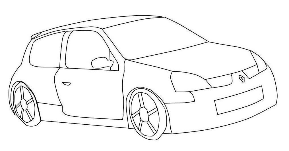 Imagenes De Carros Para Colorear: Dibujo De Un Carro De Dos Puertas Para Colorear