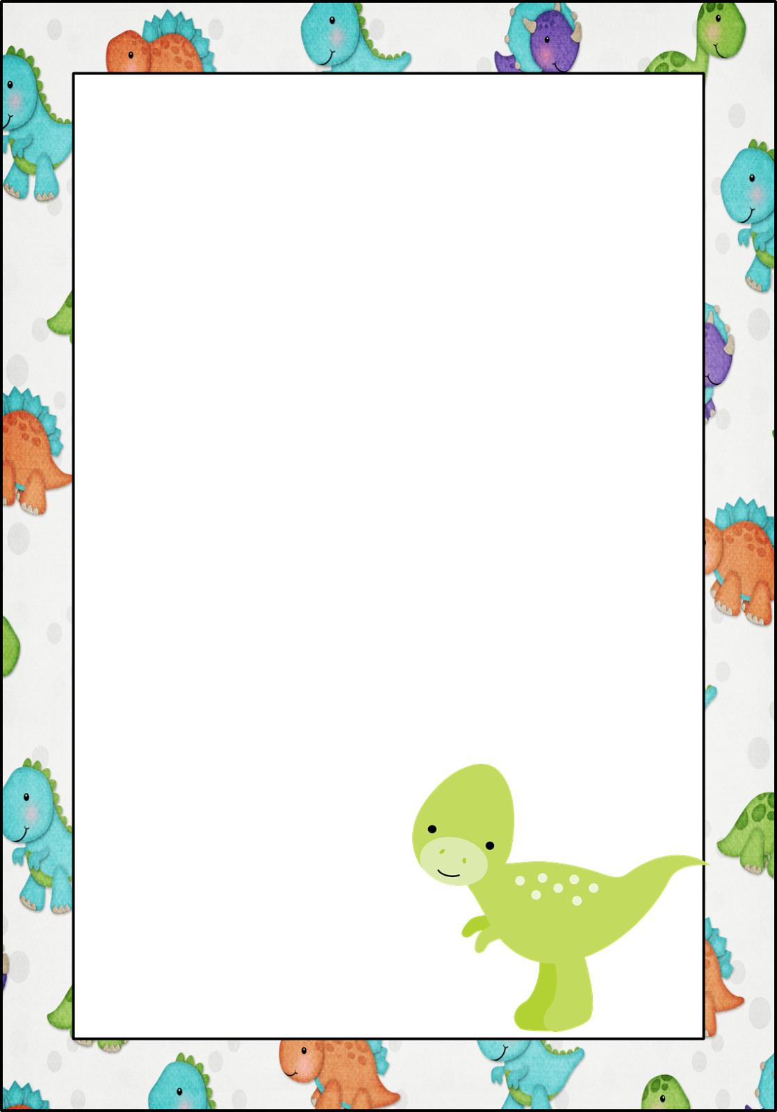 Dinosaur Babies Free Printable Frames Invitations Cards