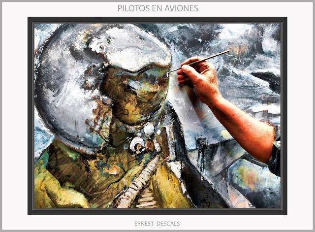 PILOTOS-PINTURA-AVIACION-MILITAR-AVIONES-EJERCITO-AIRE-PINTURAS-ARTISTA-PINTOR-ERNEST DESCALS-