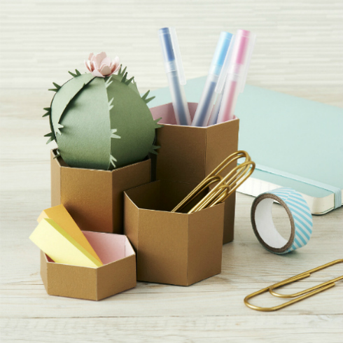 Folded Paper Cactus Desk Tidy Storage Container