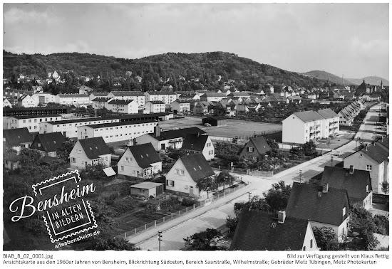 BIAB_B_02_0001.jpg; Ansichtskarte aus den 1960er Jahren von Bensheim, Blickrichtung Südosten, Bereich Saarstraße, Wilhelmstraße. Gebrüder Metz, Tübingen