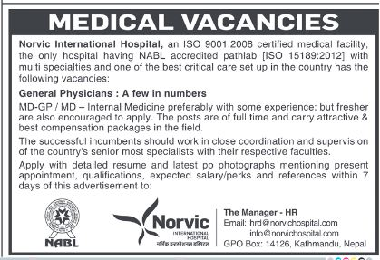 Medical Vacancy at Norvic Hospital for Physicians