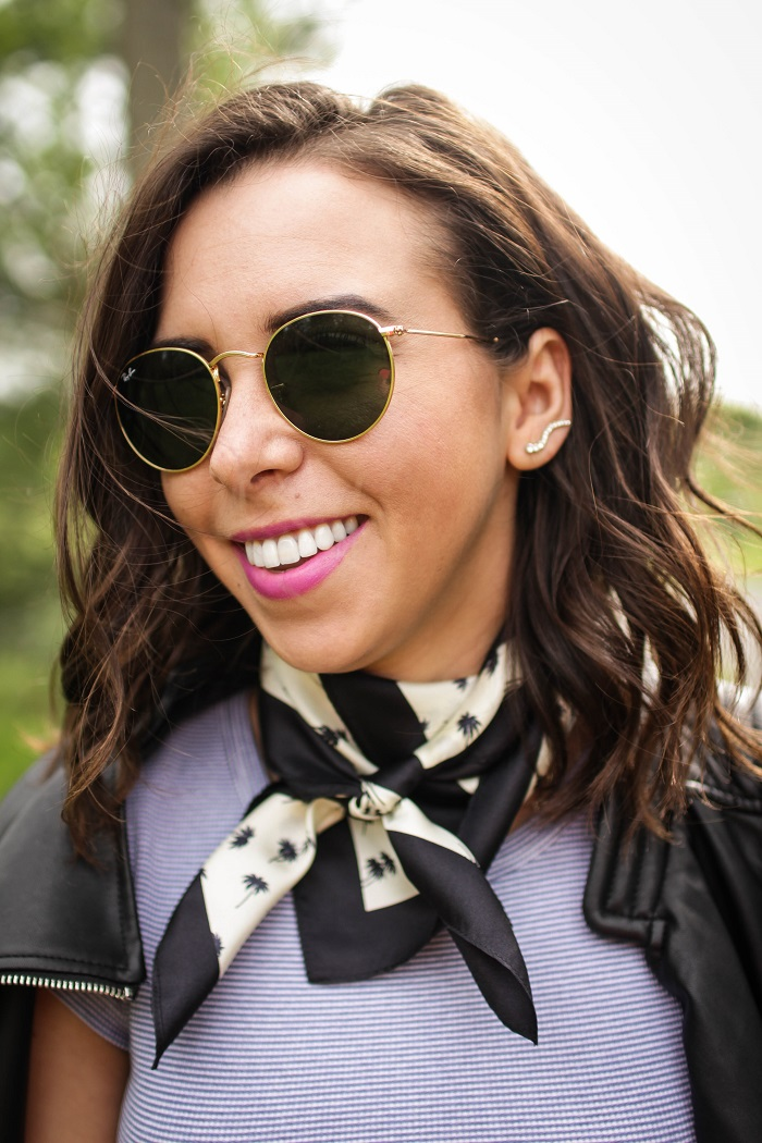How To Style A Silk Scarf | A.Viza Style | banana republic silk scarf - brandy melville tshirt - current elliott stiletto jeans - zara faux leather jacket - everlane flats