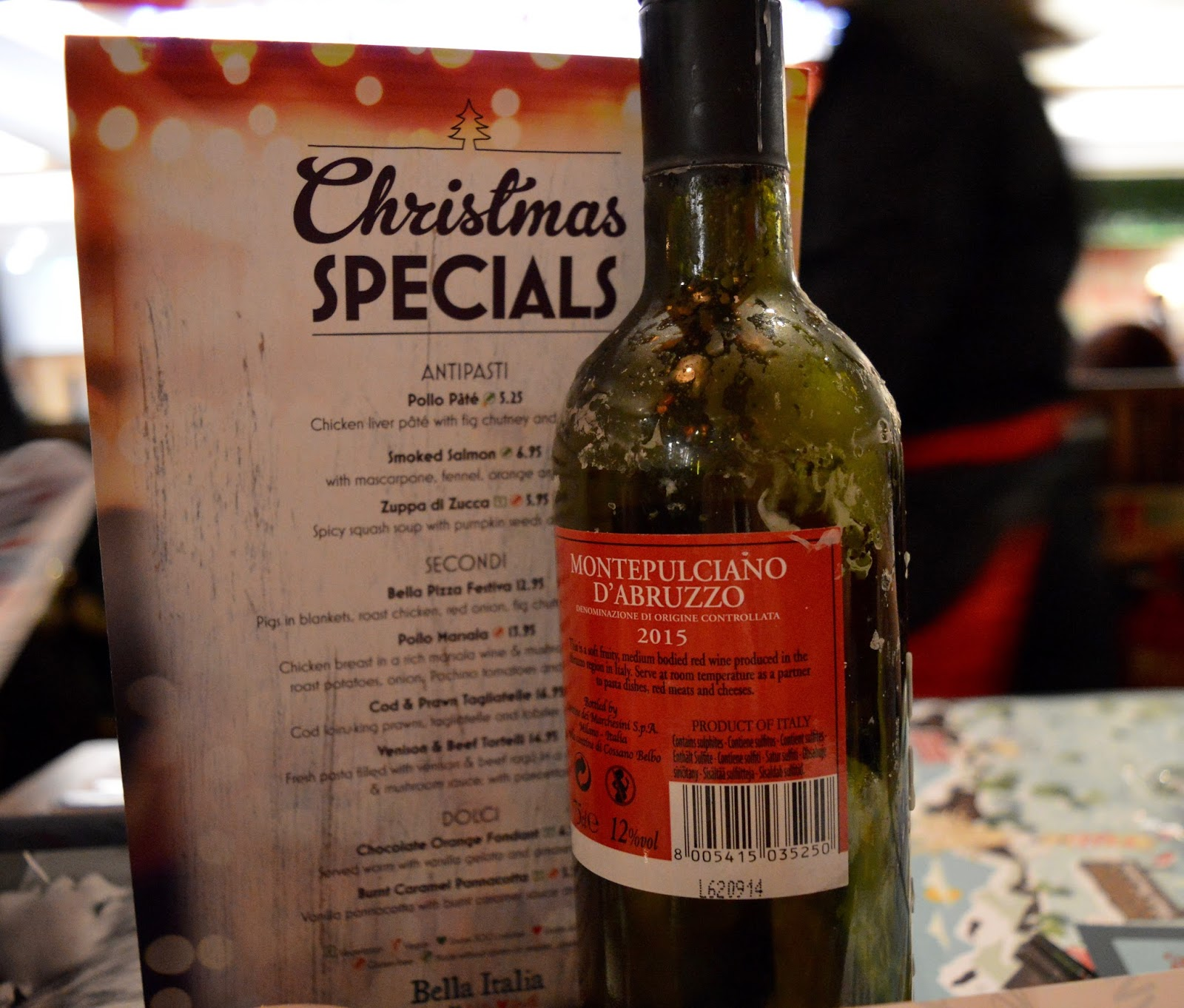 Bella Italia at intu Eldon Square Newcastle | Children's Menu Review - Christmas specials menu