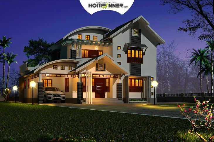 Kerala home design night 3D view of a 3 Bhk house plan