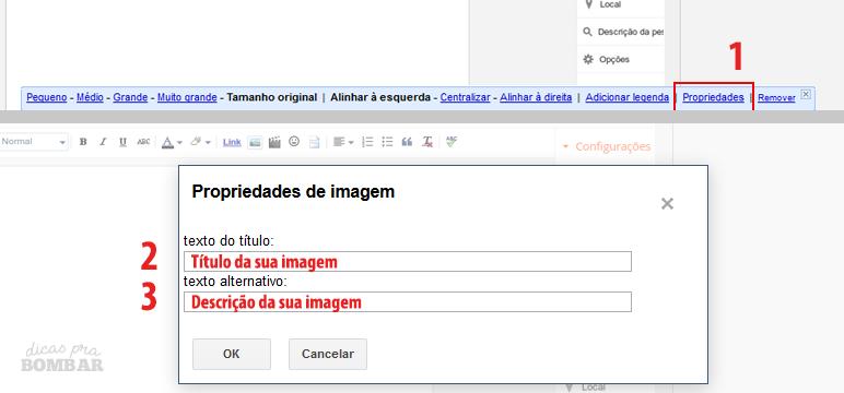 Configurando descrição de imagem