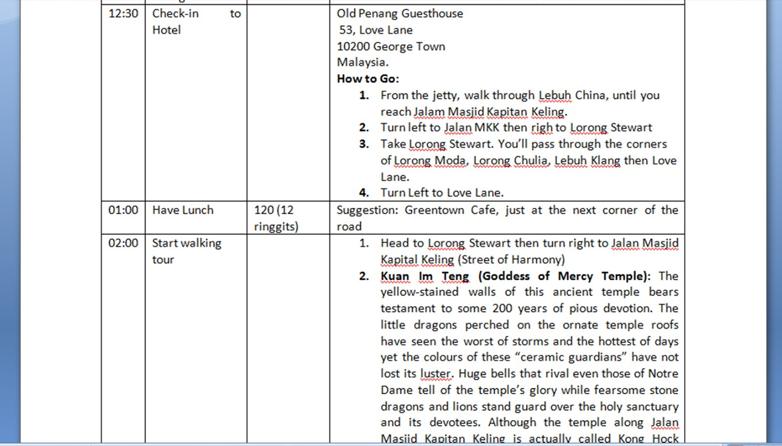 SCREENSHOT OF MY MALAYSIA-THAILAND ITINERARY
