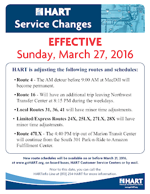 HART Service Changes - March 27
