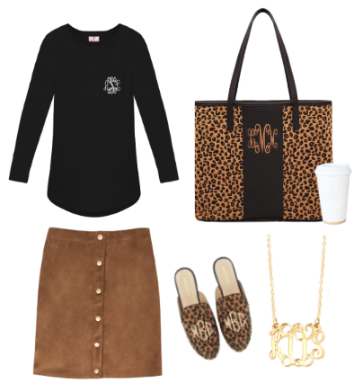 tunic shirt with reversible skirt and leopard tote