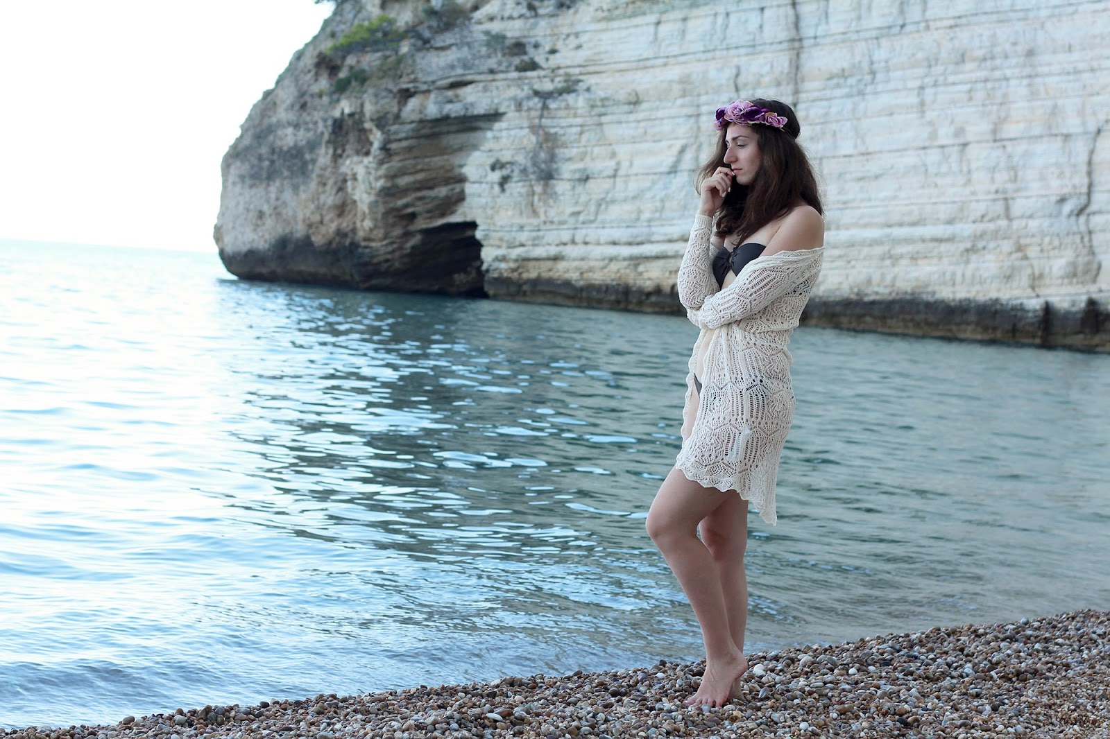 fashion style blogger outfit ootd italian girl italy trend vogue glamour puglia gargano summer vignanotica vieste swimsuit hm bijou brigitte floral crown bershka lace cardigan sea
