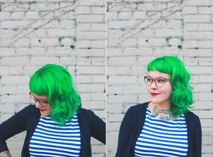 green hair, stripes, cleveland blogger