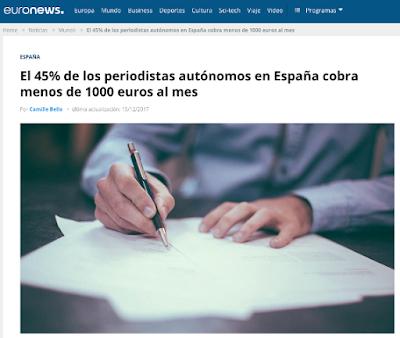 La mitad de los periodistas freelance cobran menos de 1000 euros