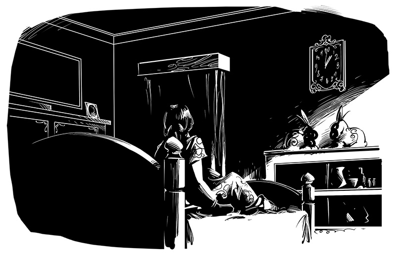 horror story illustration alone woman on bed in dark room