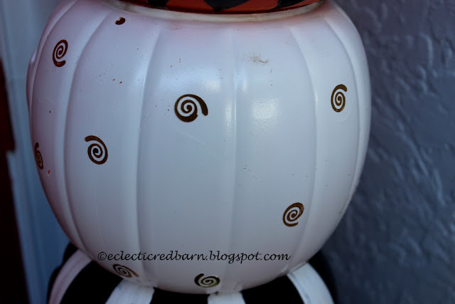 Eclectic Red Barn: Painted white pumpkin with gold things glued on