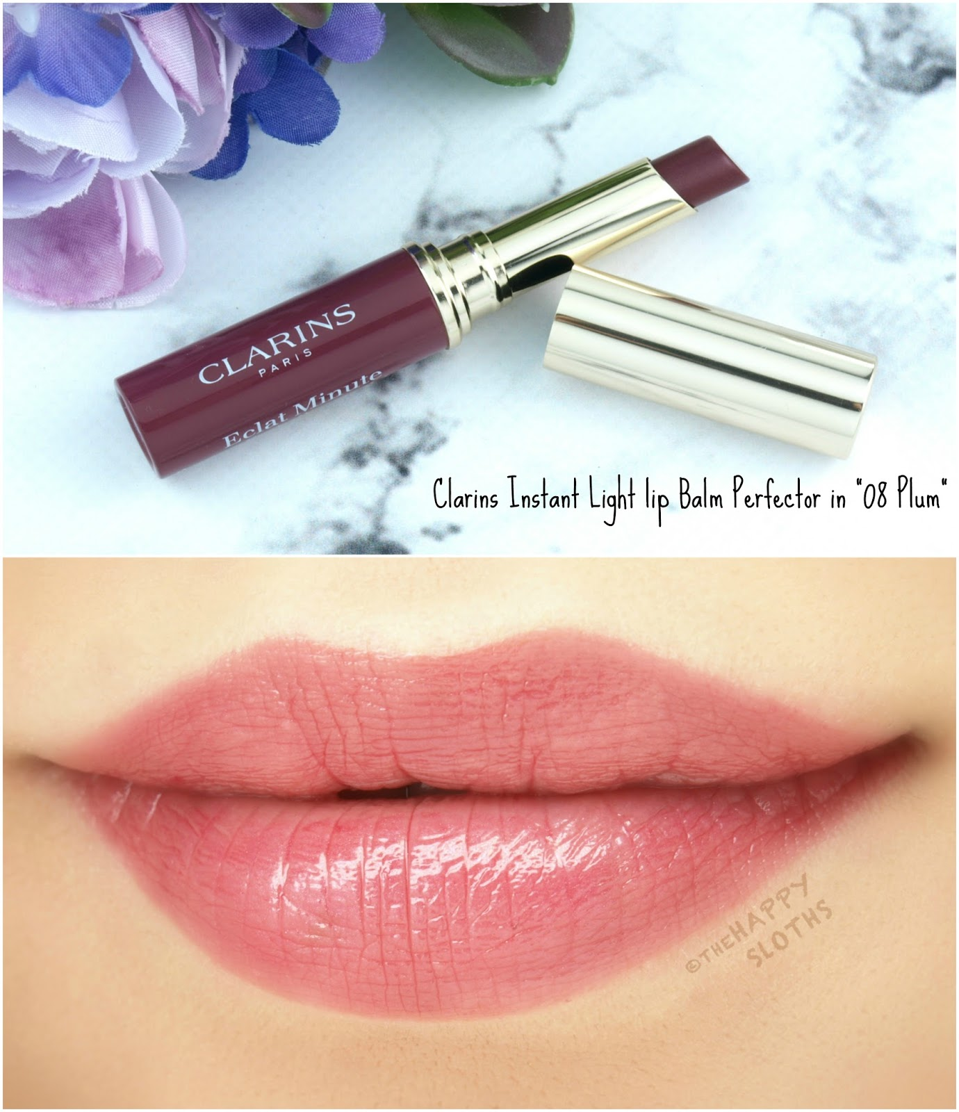 "Clarins Spring 2018 Collection | Instant Light Lip Balm Perfector in ""08 Plum"": Review and Swatches"