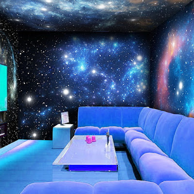 fluorescent 3D wallpaper for universe themed walls