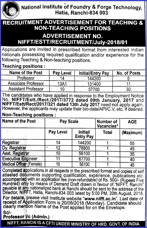Teaching and Non-Teaching Jobs Recruitment - 2018