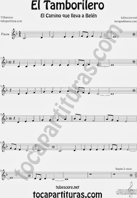 Partitura de El Tampolirero para Flauta Travesera, flauta dulce y flauta de pico El niño del Tambor Villancico Carol Of the Drum Sheet Music for Flute and Recorder Music Scores