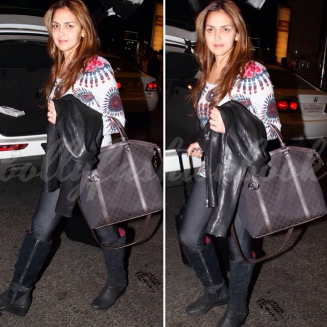 esha deol , spotted at the airport carrying @gucci bag bolly fashion book ,, Esha Deol Latest Pics From Roadies 12
