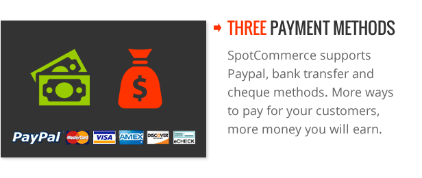 Three payment methods - SpotCommerce Blogger Shopping Template