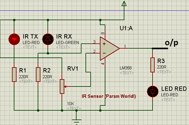 ir sensor circuit using lm358 simple param world!circuit diagram, when an obstcle is came between ir tx and ir rx
