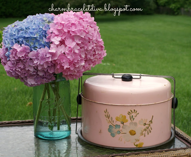 vintage pink tin cake carrier