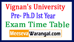 Vignan's University Pre- Ph.D Ist Year 2017 Exam Time Table