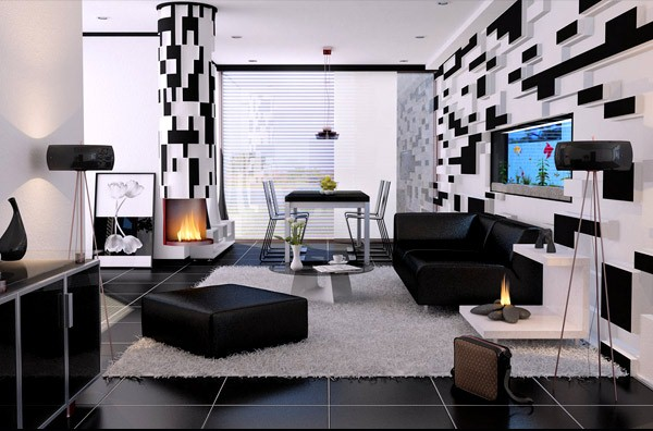 Black and White Modern Living Room Interior Decoration