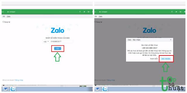 Nhận mã xác nhận từ Zalo