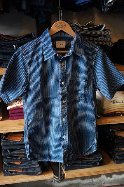 UES 半袖ストライプワークシャツ ダークインディゴ