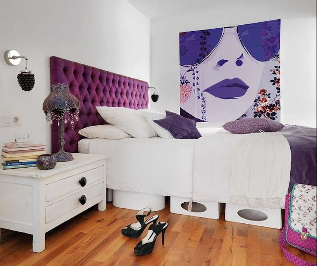 white and purple bedroom decor design