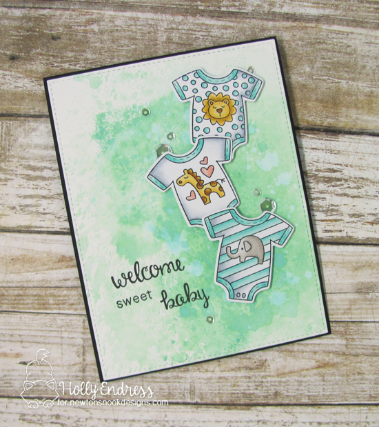 Welcome Baby Onesie Card by Holly Endress | Loveable Laundry stamp set and Stitched Onsie die set by Newton's Nook Designs #newtonsnook