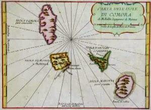 ancient map comoros comora, mayotte