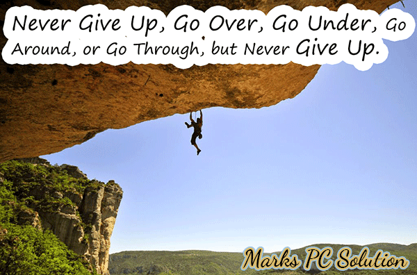 Never give up example under the mountain