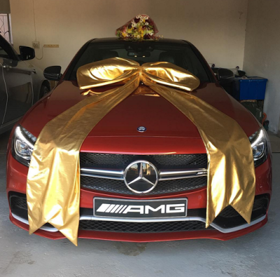 Actress comes home to meet #AMG63s Mercedes Benz gift from her husband [PHOTOS]