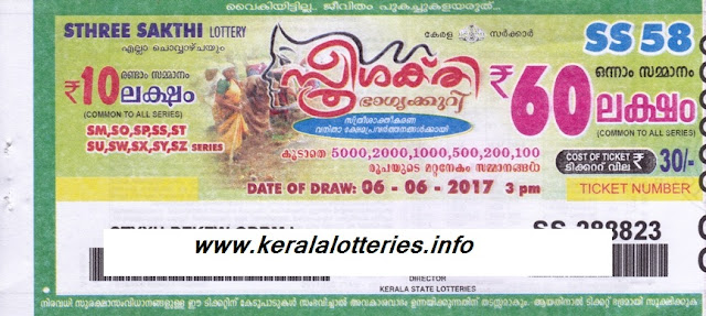 Kerala weekly Lottery Sthree Sakthi (SS-59) on 13 June 2017