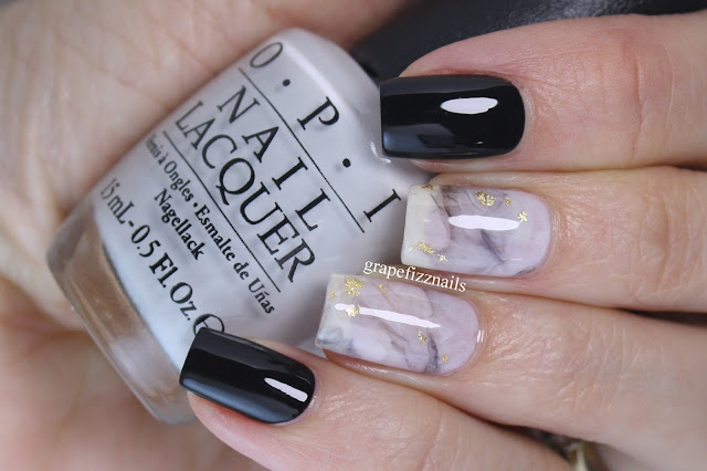 grape fizz nails black and white marble smoosh mani