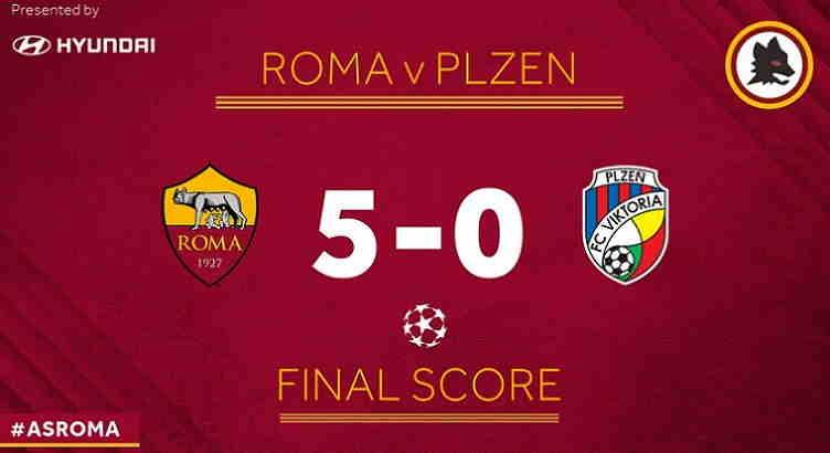 Hasil AS Roma vs Viktoria Plzen Skor Akhir 5-0