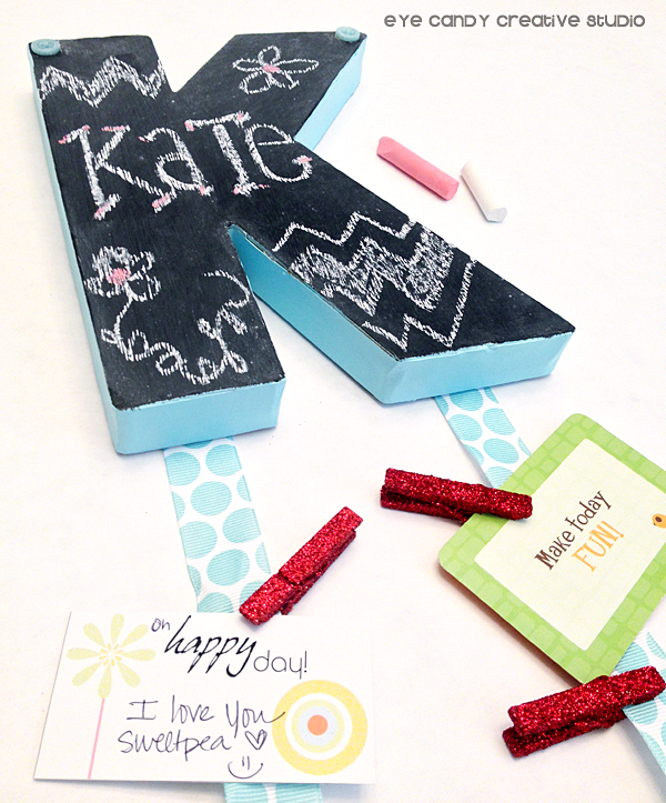 notes on chalkboard initial, chalkboard craft, chalk, ribbon, locker decor