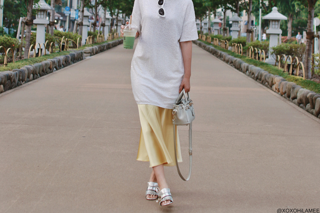 Japanese Fashion Blogger,MizuhoK,20190526OOTD ZARA= tee dress, skirt,sunglasses, SHEIN=sandals, bag