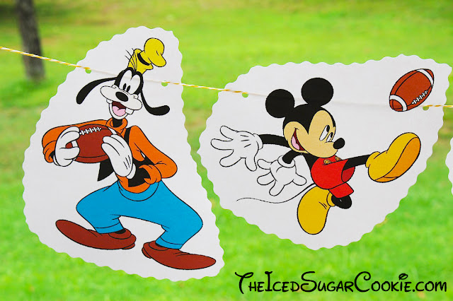 DIY Goofy Donald Duck Mickey Mouse Playing Football Birthday Party Flag Hanging Banner Sports Ideas