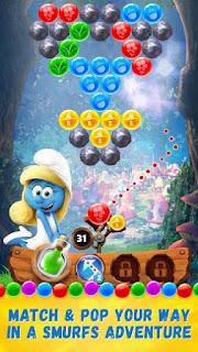 تحميل لعبة السنافر الجديدة  Smurfs Bubble Story 2017