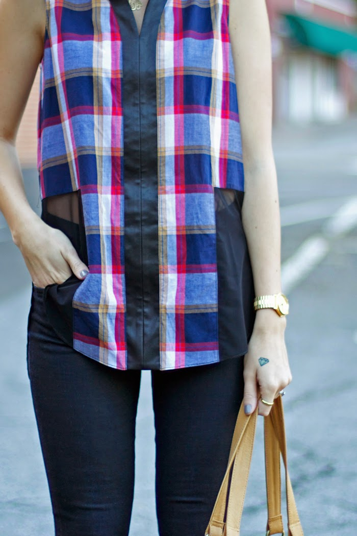 Liberty Sage Plaid Top