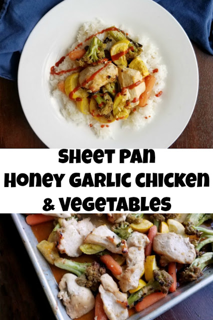 Garden fresh vegetables and chicken bathed in honey garlic goodness and cooked simply on a sheet pan. Get your rice cooking, dinner will be ready soon!