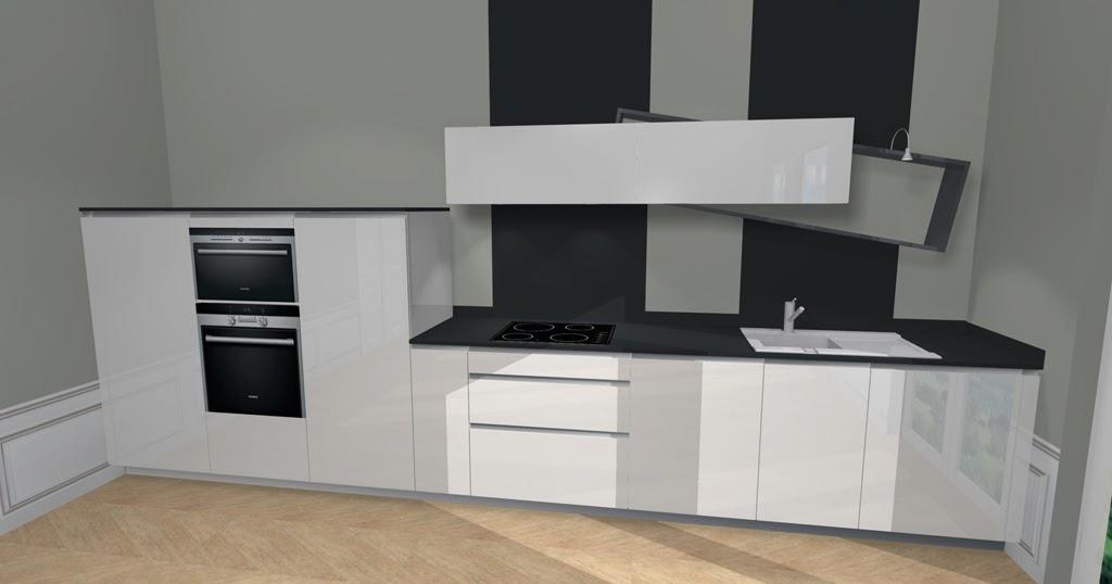 Cuisine design blanche et noire avec destructur - Cuisine design noir et blanche ...