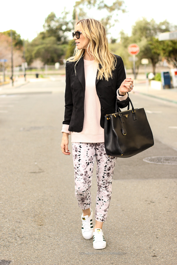 black blazer blush sweater floral pants adidas sneakers